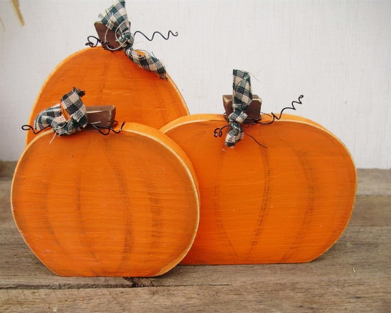 Set of Three Wood Country Pumpkins