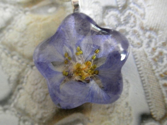 July's Birth Flower-Flower Power-Periwinkle Blue Larkspur Glass Flower Shaped Pressed Flower Pendant-Symbolizes An Open Heart