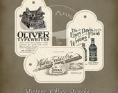 Vintage Office Supply Tags Instant Digital Download