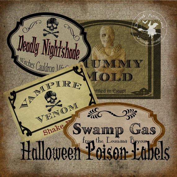 Halloween Poison Labels Vintage Witch's Cabinet  Digital Download