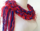 Crochet Scarf -  Blue and Red, College Scarf Ole Miss Graduation Gift