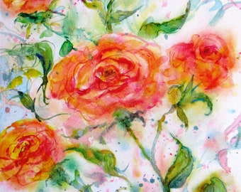 original rose watercolor painting,abstract rose art, floral garden landscape art, wall decor, Janice Trane Jones, home decor,peach roses art