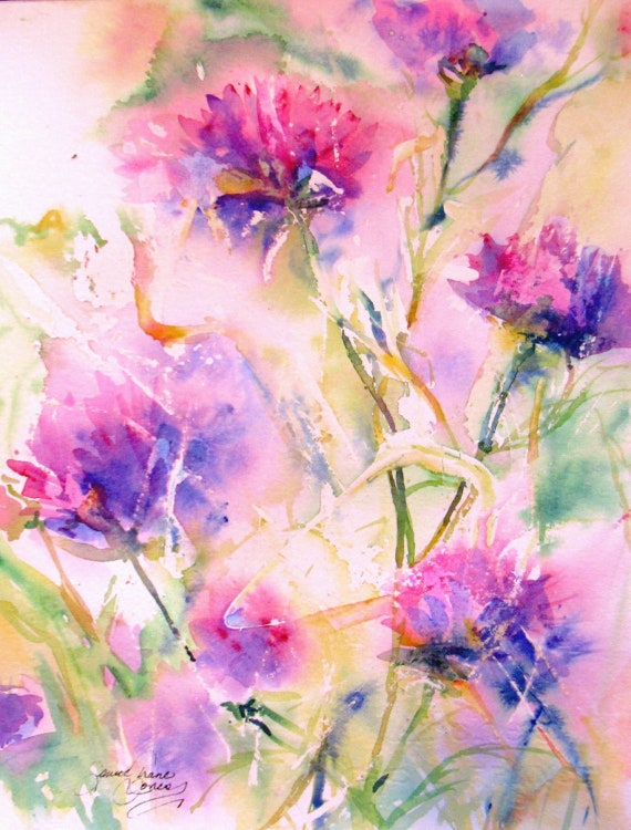 abstract flower Original Watercolor Painting modern contemporary impressionism Cornflowers floral landscape fine art 8 x 10