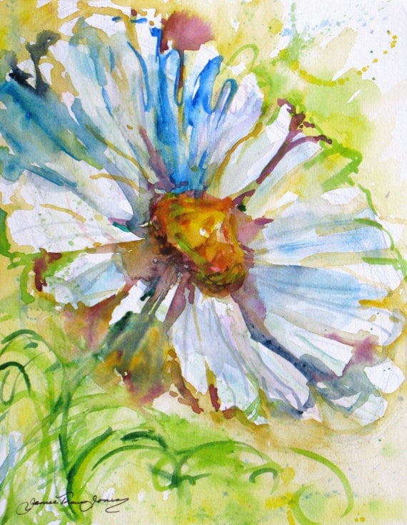 RESERVED FOR MELANIE abstract daisy original watercolor painting contemporary flower landscape 8 x 10 fine art