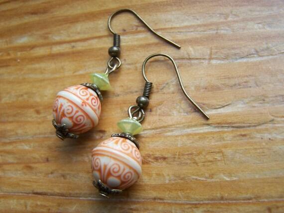 Pumpkin Inspired Bali Dangle Orange Earrings