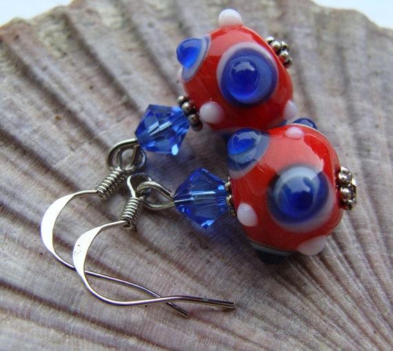Red White and Blue Swarovski Lampwork Earrings
