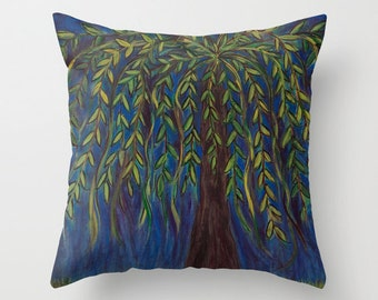 Weeping Willow Pillow Cover 16x16, 18x18 or 20x20