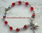 Red Czech Glass Rosary Bracelet