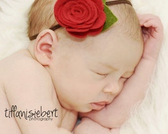 Newborn Headband Abby Red Felt Rose and Skinny Headband