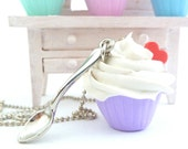 fake Cupcake necklace and small spoon Charm alice in wonderland with silver ball chain white frosting ,birthday girls party