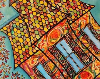 8 x 10 giclee print of original art: Carnival House