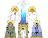 The Holy Family Creche - PDF Digital Download - Paper Cut-Out DIY Craft Kit - No Shipping Required