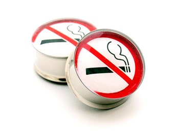 No Smoking Picture Plugs gauges - 1 1/8, 1 1/4, 1 3/8, 1 1/2 inch