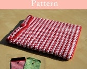 ENGLISH Instructions - Instant Download PDF Crochet Pattern Red and White iPad Case