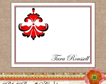 Note Cards - Notecards Personalized Stationery Folded Note Card Set of 10- Damask Ding