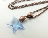 Light Sapphire Necklace September Birthstone Necklace Blue Star Copper Jewelry Crystal Pendant