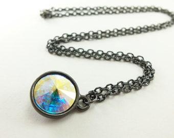 Dark Silver Crystal Necklace Clear AB Swarovski Crystal Necklace Gunmetal Dark Silver Modern Gothic Aurora Borealis