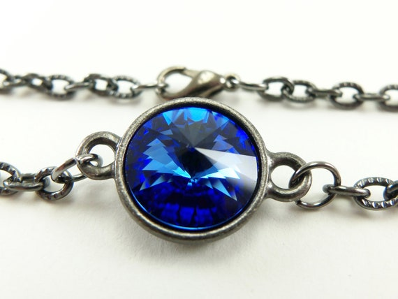 Blue Sapphire Bracelet September Birthstone Bracelet Crystal September Birthday Dark Silver Gunmetal Modern