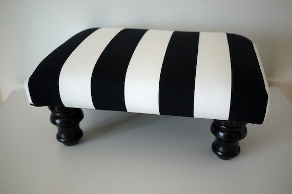 Wide Black And White Striped Footstool Ottoman