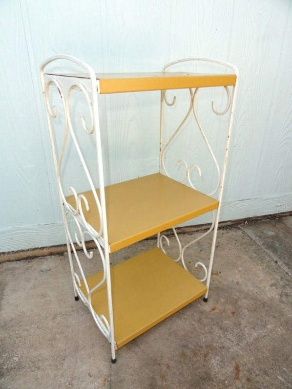 Vintage Side TableMetal Nightstand Shelf Bedside Plant Stand Mustard Yellow