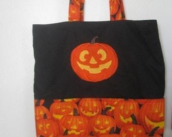 Halloween Embroidered Pumpkin Jack-o-Lantern Eco Tote Bag