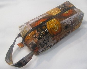 Halloween with surprise pumpkin embroidery inside - Cosmetic Bag Makeup Bag LARGE