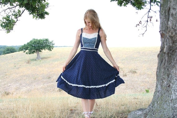 Vintage 70's Prairie Sun Dress S M Calico and Lace - Gunne Sax Style