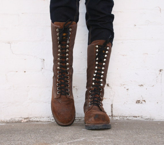 Vintage BUFFALO Boots Tall Lace Up Hiking Womens 9 Canvas