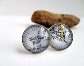 North Pole South Pole Unique Map Cufflinks, Cool Stuff for Men, Polar, Arctic, Silver Cufflinks