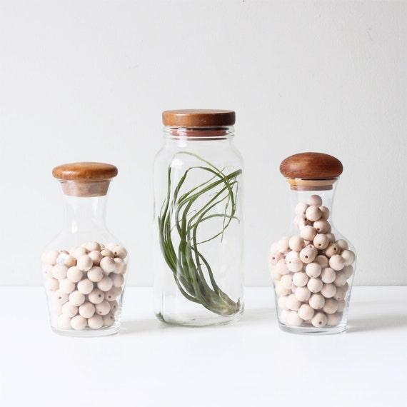 vintage teak top canister set / modern storage jar / set of 3
