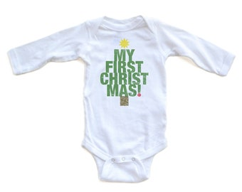 """Apericots Cute """"My First Christmas"""" Tree Shape Long Sleeve Baby Soft Warm Bodysuit Fun for Christmas Xmas Eve Great Gift Idea"""