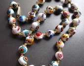 White Millefiori Vintage Necklace Murano Jewelry Glass Beaded Necklace Italy