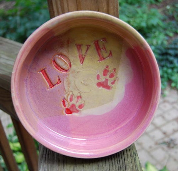 RESERVED Listing For Niki Large Dog Bowl Feeding Water Dish Soft Yellow Pink Mauve Red Handmade Pottery by Big Dog Pots Bigdogpots Pottery
