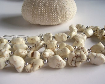 White howlite  and silver double strand chunky necklace, southwest jewelry