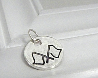Flags Charm - Hand Stamped Silver on Etsy