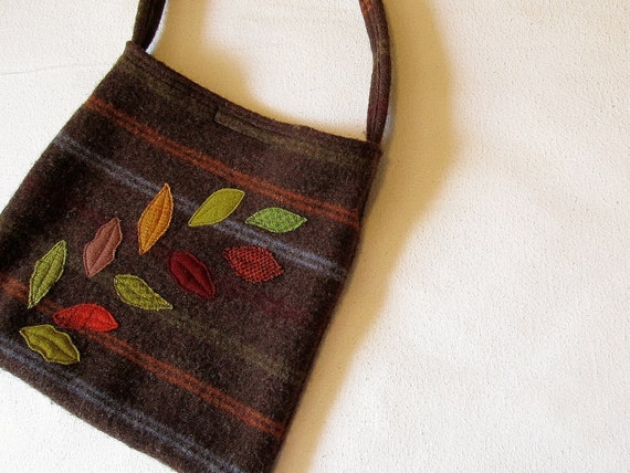 Upcycled felted wool sweater bag/brown stripes leaf applique
