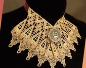 Lace Necklace Jabot of Tan and Metallic Pink with Silver Locket and Rhinestones