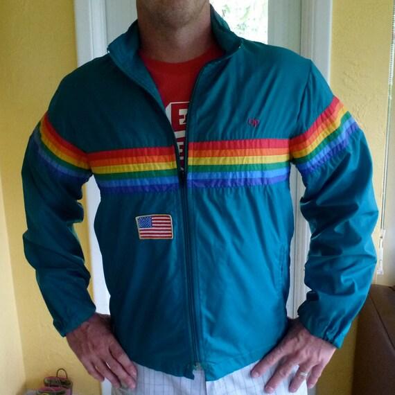 Vintage OP Ocean Pacific windbreaker jacket - green and rainbow - size large