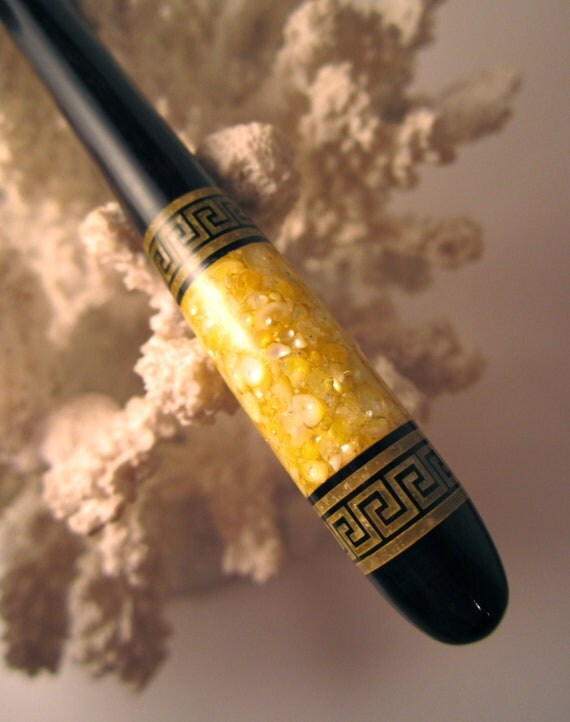 """The """"Petite"""" Greek Key Hair Stick Featuring African Blackwood Inlaid with Lemon Fresh Water Pearls and Citrine"""