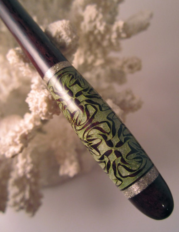 """NEW DESIGN- """"Petite"""" Kaleidoscope Featuring East Indian Rosewood Inlaid with Peridot and Silver"""