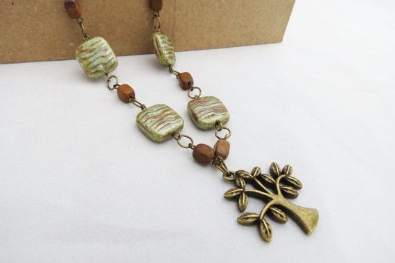Reserved for Lisa - Antiqued Brass Tree Necklace - Green and Brown