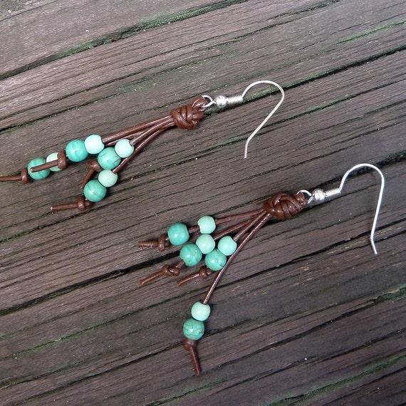 Double Blue Earrings - Dangle Earrings, Blue Magnesite Beads, Brown Leather Earring