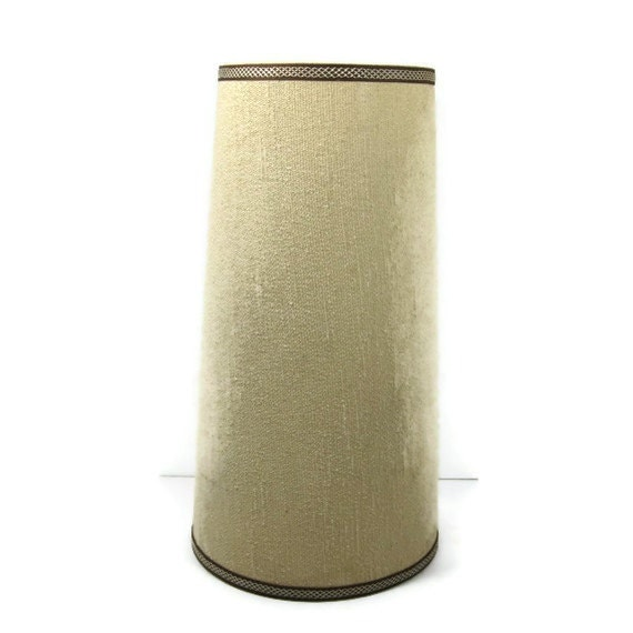 Vintage Lamp Shade Cream And Brown Tall Drum Style