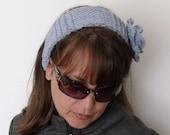 Blue Flower Headband Ear Warmers- Ready For Shipping