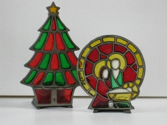 Vintage Stain Glass Votive Candle Holder Christmas Tree and Nativity Scene Christmas Decor
