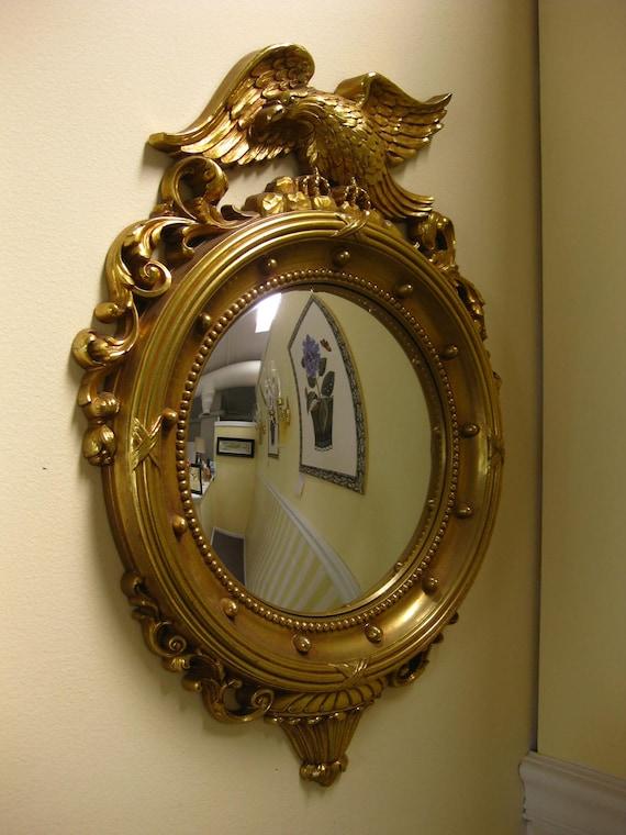 Vintage Bullseye Syroco Mirror Bright Gold Federal Style Eagle