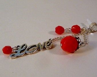 Cell phone charm, dust plug dangle, Love script charm, beaded dangle, red, fire polish beads, bling, iphone, android, handmade
