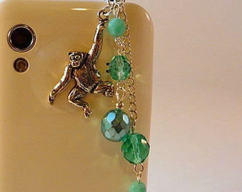 Cell phone charm, dust plug, monkey, aqua, turquoise, fire polish crystal, bling, iphone, android