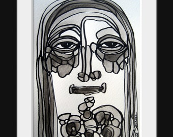 Modern Art Black and White Abstract Painting Original Family Portrait Series