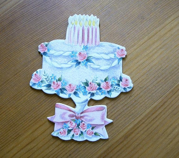 Cardboard Die Cut Birthday Cake from vintage  1940's card